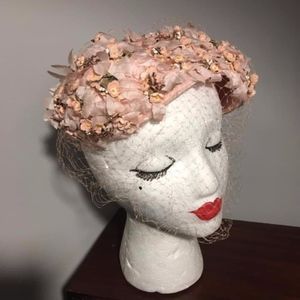 1950s Pink Floral Petal Juliet Cap Hat